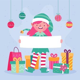 Christmas character holding blank bannerv