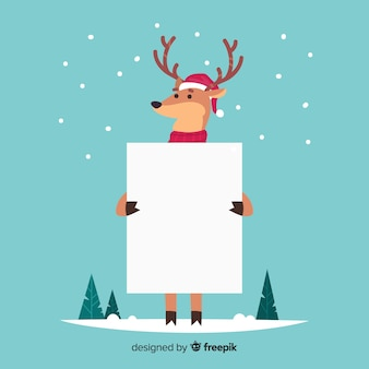 Christmas character holding white empty card