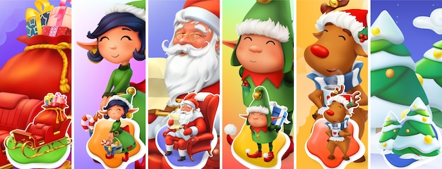 Christmas character illustration set