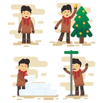 Christmas character pack in flat design