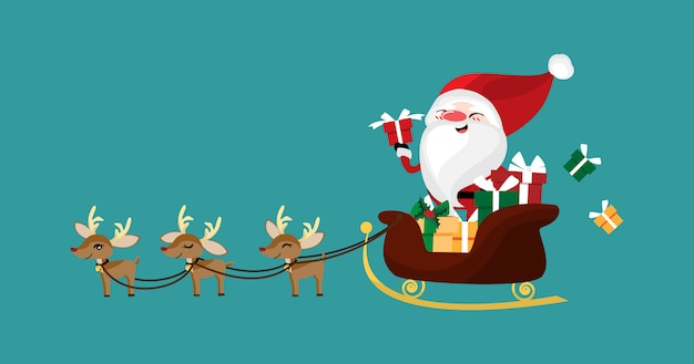 Christmas character of santa claus in a sleigh with reindeer.