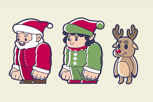 Christmas character of santa, dwarf, and a red nose reindeer