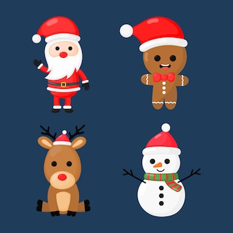 Christmas character set isolated on blue