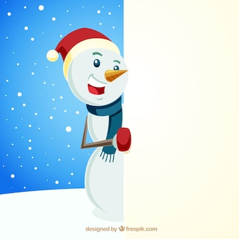Christmas character snowman with blank sign