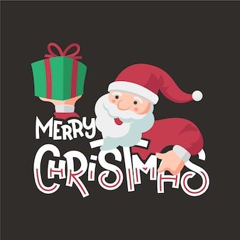 Christmas character with lettering