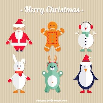 Рождественские персонажи и санта-клаус в плоском дизайне