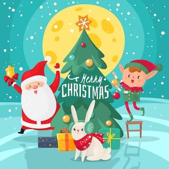 크리스마스 문자 배경입니다. 친구와 함께 행복 한 메리 크리스마스와 새 해 인사 카드. 크리스마스 트리와 도우미, 토끼와 요정 선물 만화 벡터 12 월 휴일 포스터와 산타 클로스