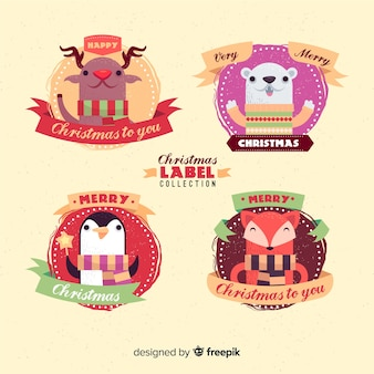 Christmas characters badge collection
