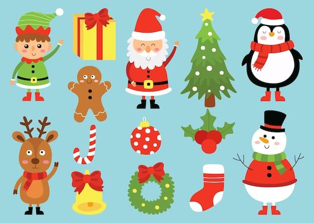 파란색 배경에 고립 된 크리스마스 캐릭터 만화 동물 세트