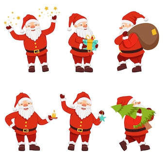 Christmas characters collection of cute santa