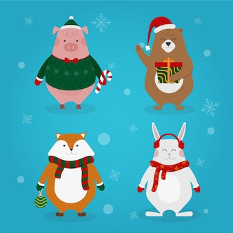 Christmas characters collection flat design style