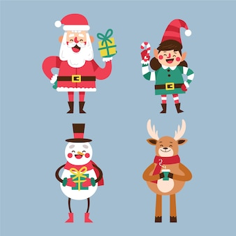 Christmas characters collection in flat design
