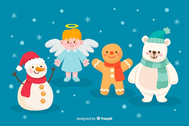 Christmas characters collection hand drawn style