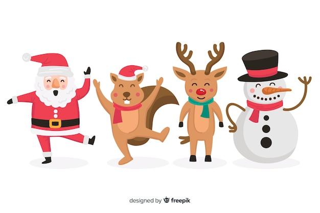 평면 디자인의 크리스마스 문자 모음