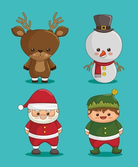 Christmas characters: deer, snowman, santa claus and elf
