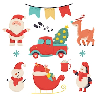 Christmas characters and elements vector cartoon set isolated on white background.