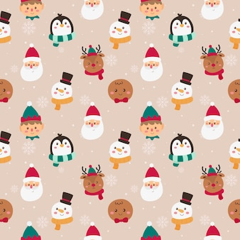 Christmas characters faces seamless pattern on pink background