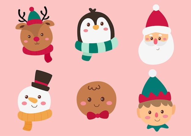 Christmas characters faces set isolated on pink background