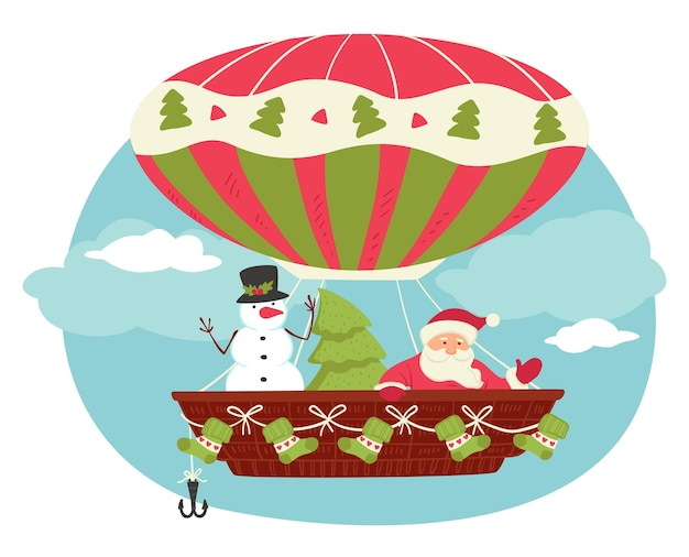 Christmas characters flying in hot air balloon