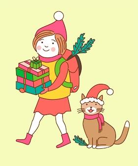 크리스마스 문자 소녀와 고양이 밝은 배경에 고립 된 다채로운 선물을 들고있다.