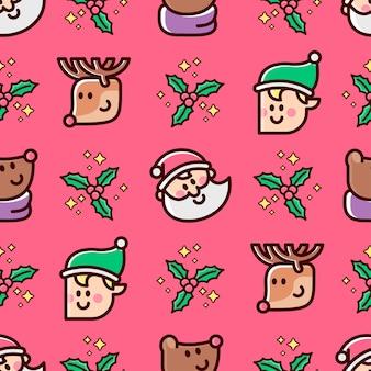 Christmas characters head santa elf bear and reindeer seamless pattern in red background