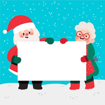 Christmas characters holding blank banner