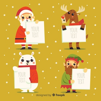 Christmas characters holding blank sign collection