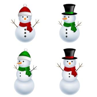 クリスマスのキャラクター。孤立した雪だるまイラスト