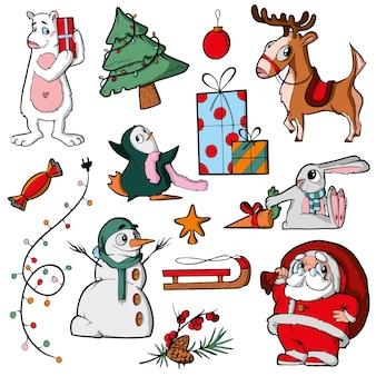 흰색 배경에 크리스마스 캐릭터 귀여운 만화
