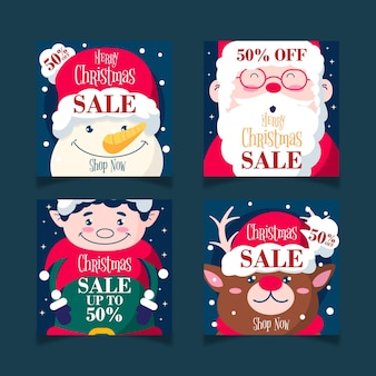 Christmas characters sale instagram social media post template