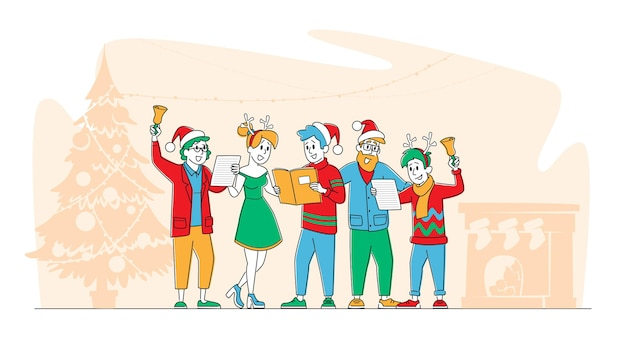 Christmas characters in santa claus and reindeer hats singing