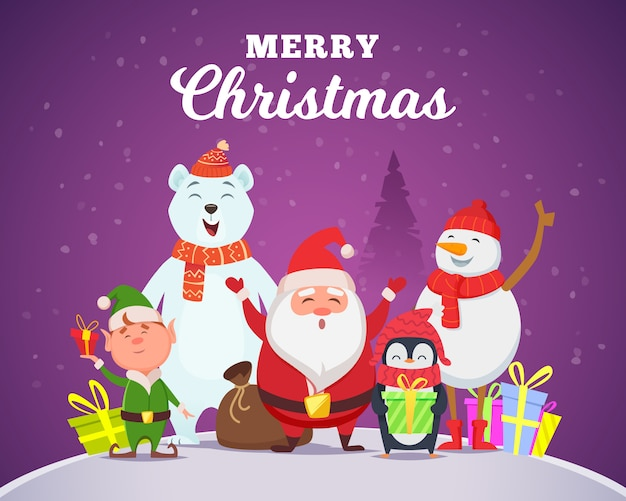 Christmas characters santa penguin white arctic bear character snow wildlife animals in cartoon style