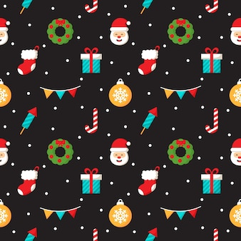 Christmas characters seamless pattern on black background
