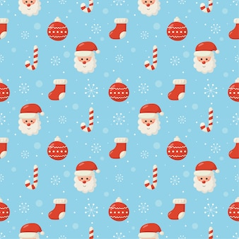 Christmas characters seamless pattern on blue background