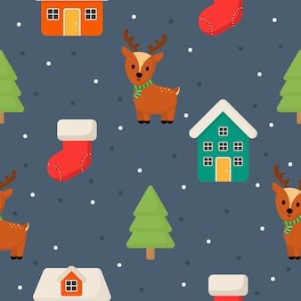 Christmas characters seamless pattern on blue background.