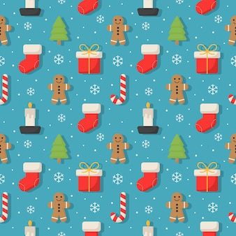 Christmas characters seamless pattern on blue .