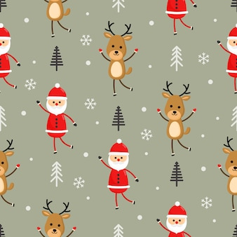 Christmas characters seamless pattern on gray background.