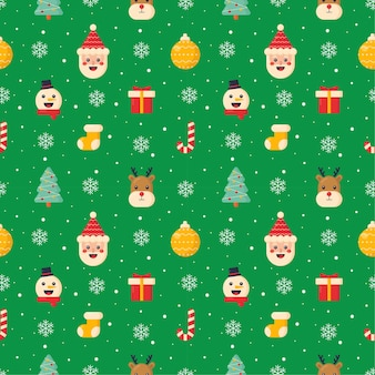 Christmas characters seamless pattern on green background