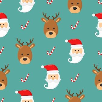 Рождественские персонажи бесшовные узор на синем фоне. векторная иллюстрация.