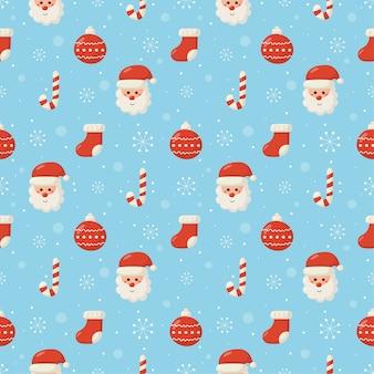 青い背景の上のクリスマス文字シームレスパターン