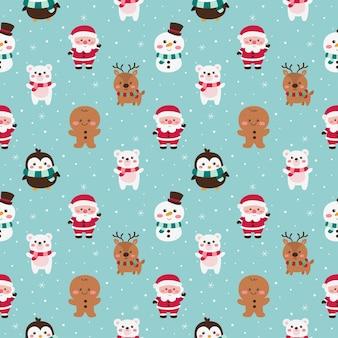 Рождественские персонажи бесшовные модели на синем фоне