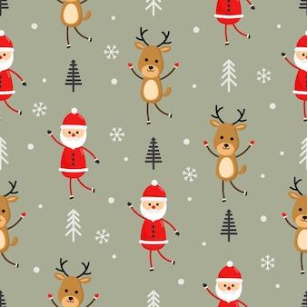 Рождественские персонажи бесшовные узор на сером фоне.