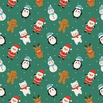 Рождественские персонажи бесшовные модели на зеленом фоне