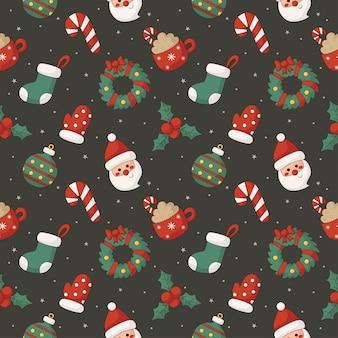 灰色の背景にクリスマスの文字のシームレスなパターン