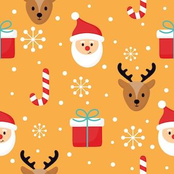 Рождественские персонажи бесшовные узор на оранжевом фоне.