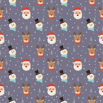 紫色の背景にクリスマス文字シームレスパターン