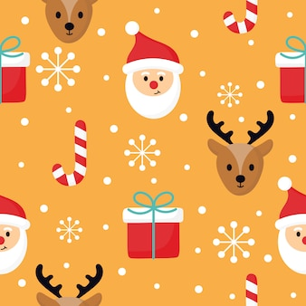 Christmas characters seamless pattern on orange background.