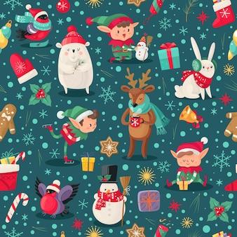 クリスマスの文字のシームレスなパターン。サンタクロースのヘルパー、鹿と雪だるま、エルフと北極のクマの冬の幼稚なクリスマスの休日のデザインの壁紙、テキスタイルと包装紙、ベクトルテクスチャ