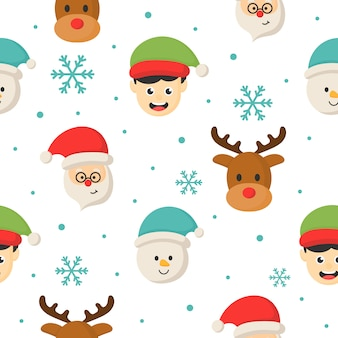 Christmas characters seamless pattern on white background.