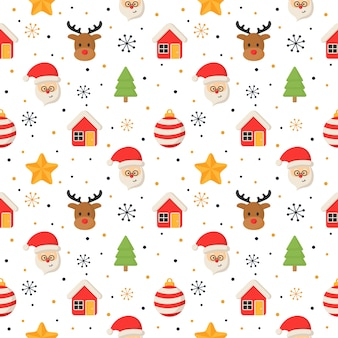 Christmas characters seamless pattern on white .